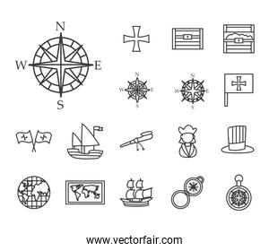 Christopher Columbus man line style set of icons vector design