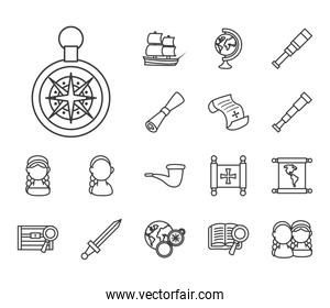 Christopher Columbus man line style collection of icons vector design