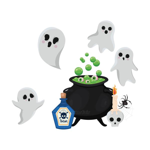 Halloween witch bowl and ghosts vector design