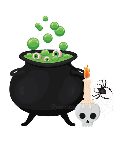 Halloween witch bowl skull and spider vector design