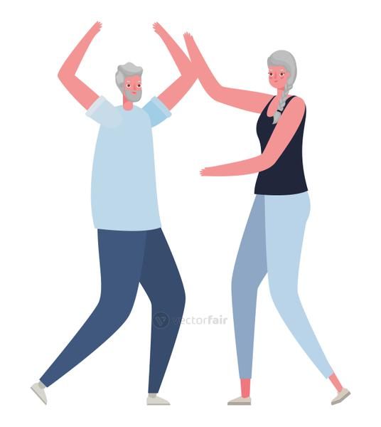 Senior woman and man cartoons with hands up vector design