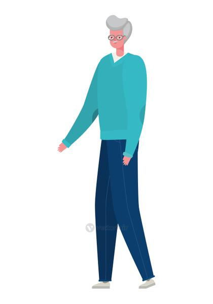 Senior man cartoon with pullover and glasses vector design