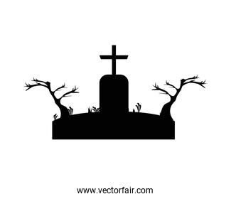 grave with cross in dry forest scene vector design