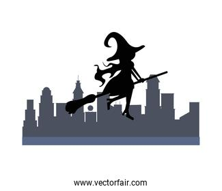 halloween witch flying in broom silhouette on the city