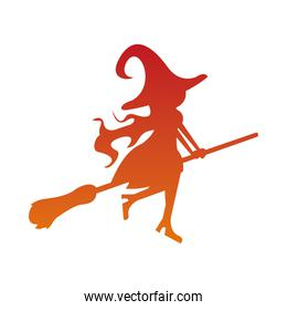 halloween orange witch flying in broom silhouette