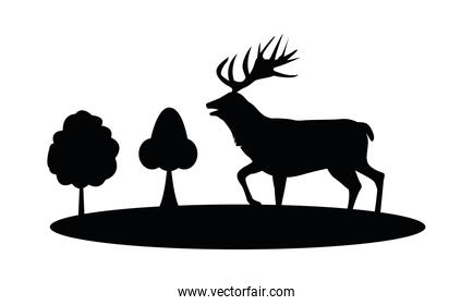 wild reindeer animal silhouette in forest scene nature icon