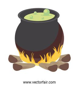 halloween witch cauldron pot in campfire