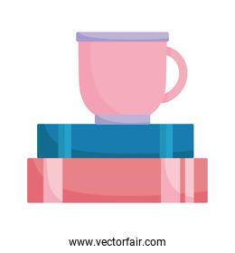 coffee cup on books isolated design white background