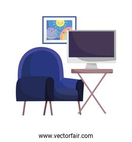 workspace blue chair table with monitor isolated design white background