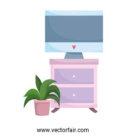 workspace computer on table and potted plant isolated design white background