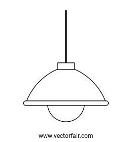 hanging lamp light bulb isolated icon line style