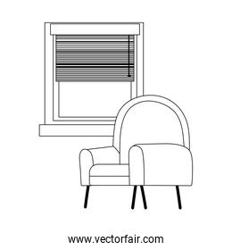 chair and window interior isolated icon line style