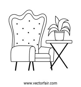 armchair table with plant isolated icon line style