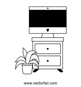 workspace computer on table and potted plant isolated icon line style