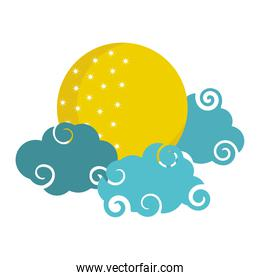 bright moon clouds sky cartoon isolated icon style