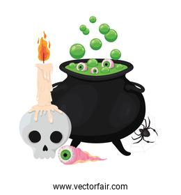 Halloween witch bowl skull eye and spider vector design