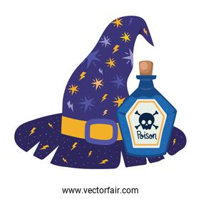 Halloween witch hat and poison vector design