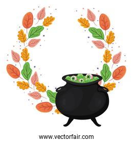 Halloween witch bowl with leaves vector design