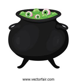 Halloween witch bowl with eyes vector illustration