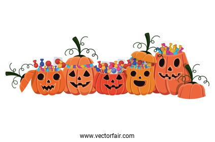 Halloween pumpkins cartoons with candies vector design