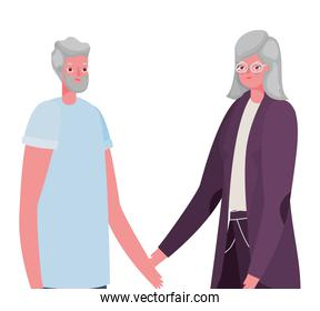 Senior woman and man cartoons vector design