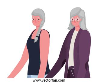 Senior women cartoons holding hands vector design