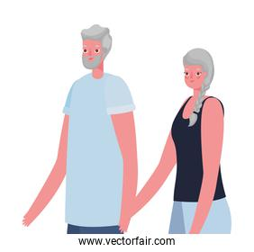 Senior woman and man cartoons holding hands vector design