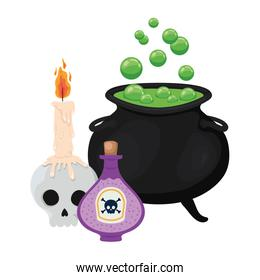 Halloween witch bowl skull and poison vector design