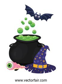 Halloween witch bowl bat eye and hat vector design