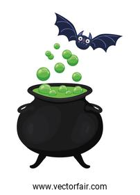 Halloween witch bowl and bat vector design