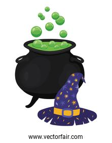 Halloween witch bowl and hat vector design