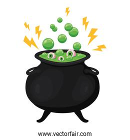 Halloween witch bowl with eyes vector design
