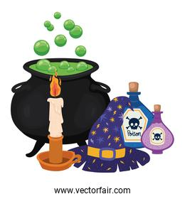 Halloween witch bowl candle poisons and hat vector design