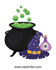 Halloween witch bowl poison and hat vector design