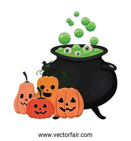 Halloween witch bowl and pumpkins isolated icon