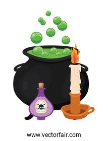 Halloween witch bowl candle and poison vector design