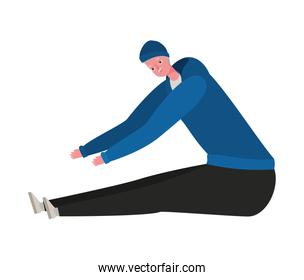 Senior man cartoon with sportswear stretching vector design