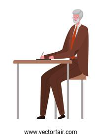 Senior man cartoon at desk vector design