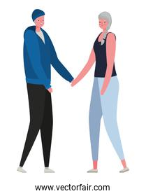 Senior woman and man cartoons with sportswear holding hands vector design