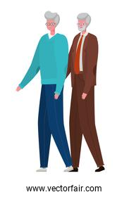 Senior men cartoons holding hands vector design