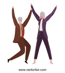 Senior woman and man cartoons jumping vector design