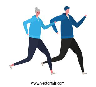 Senior woman and man cartoons with sportswear running vector design