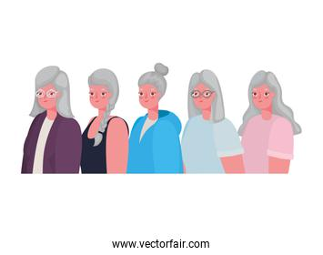 Senior women cartoons vector design