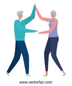 Senior woman and man cartoons dancing vector design