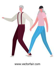 Senior woman and man cartoons walking holding hands vector design
