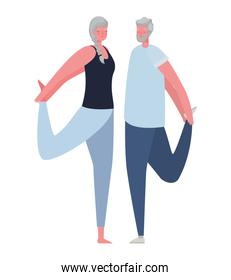 Senior woman and man cartoons stretching vector design