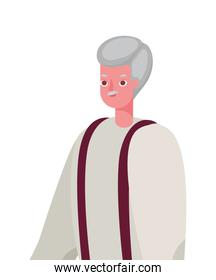 Senior man cartoon with traditional cloth vector design