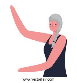 Senior woman cartoon with one hand up vector design