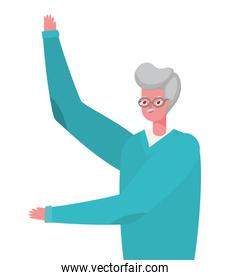 Senior man cartoon with one hand up vector design