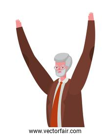 Senior man cartoon with suit glasses and hands up vector design